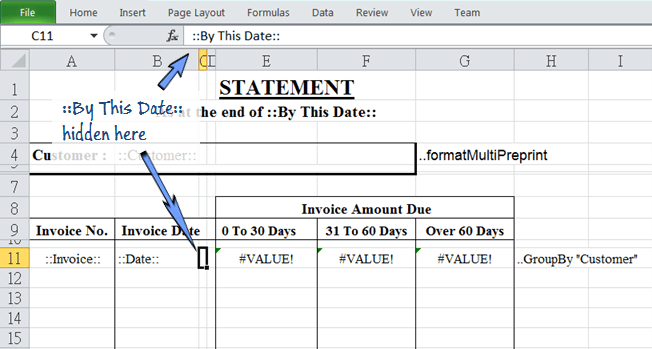 statement date is hidden in the same row of repetitive invoice data