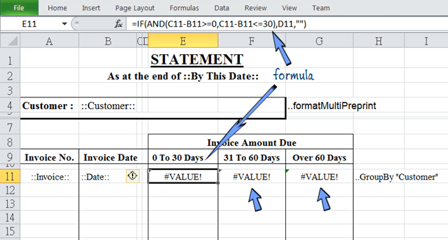 the formula to calculate overdue period is hidden in the same row of repetitive invoice data
