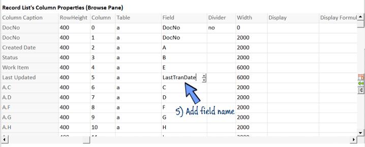 add field name LastTranDate
