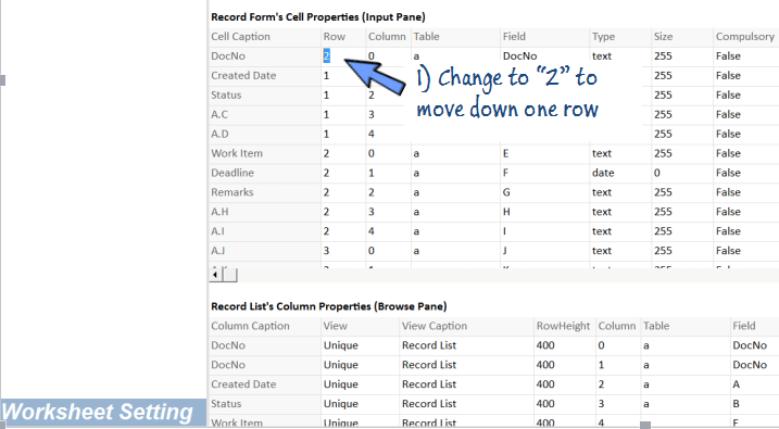 change cell rows