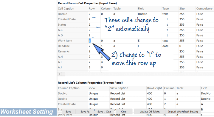change the row number of the cells