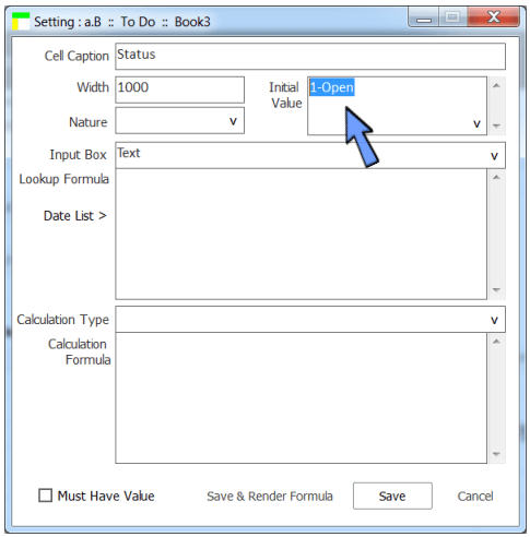 add default value of a cell