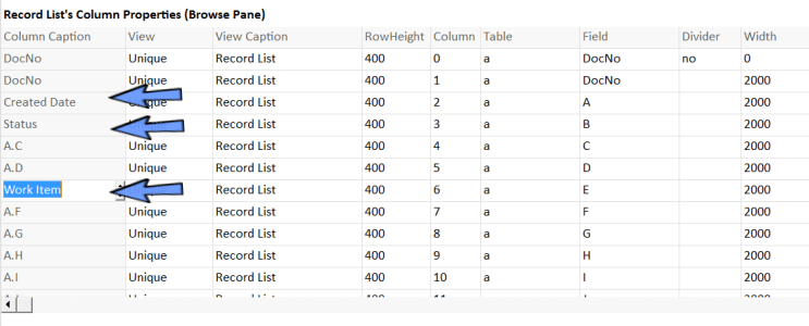 change column captions of browse pane in worksheet setting.