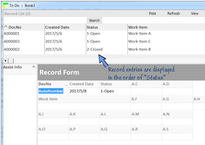 records in list view are sorted by Status.