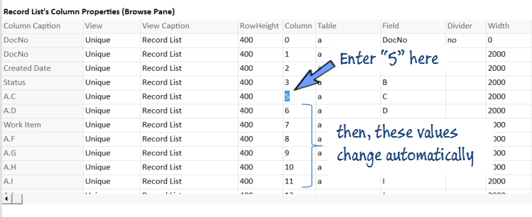 shifting column position of browse pane in worksheet setting