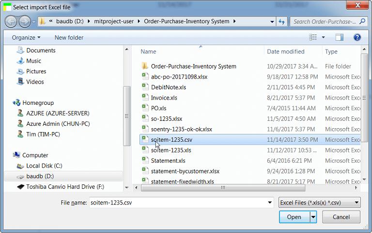 Select Import CSV Format Spreadsheet