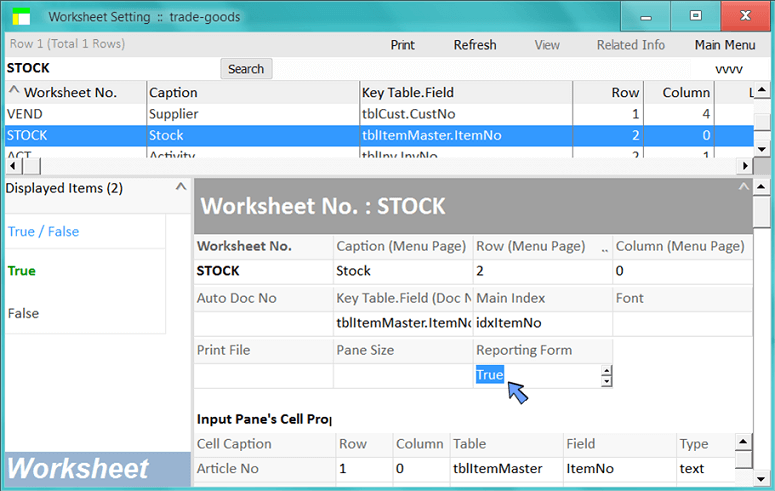 set the stock worksheet to be read only