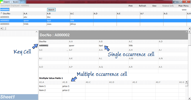 each worksheet is ready with single and multiple occurrence fields.