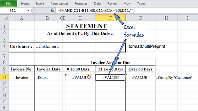 Excel formulas can be added on the report to do some calculations