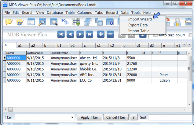 use import wizard to import spreadsheet data.