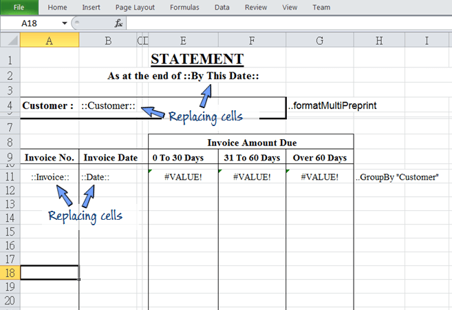 Add replacing cells on the spreadsheet template for moving data from BAU DB worksheet