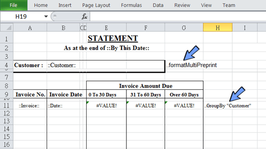 apply report directives on the spreadsheet to control the layout of data