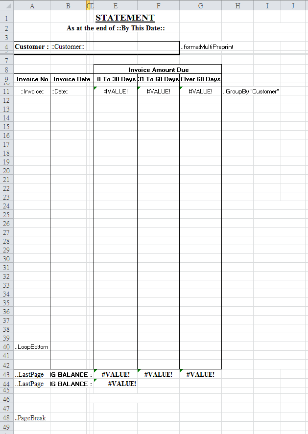 format a report template on Excel spreadsheet