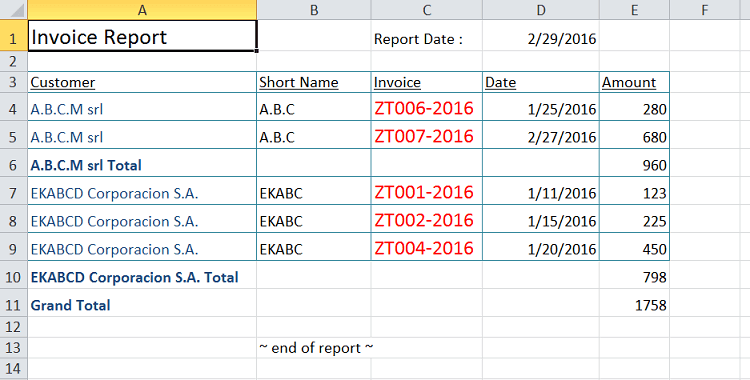 the customer is removed from the Excel report.