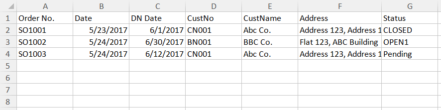 Table data for importing into database