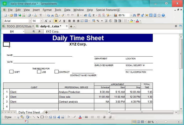 The Excel form of timesheet to be managed